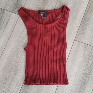 F21 Rusty Red Ribbed Cropped Tank Top